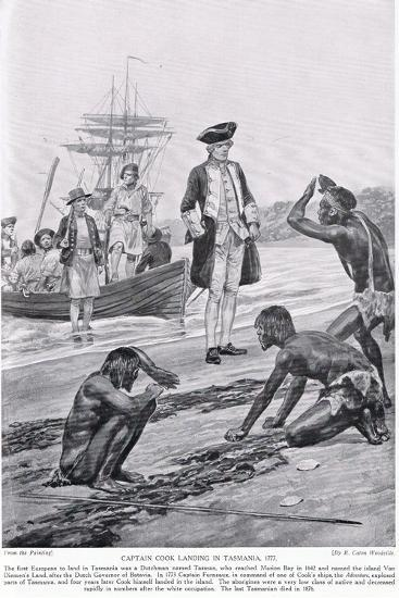 Captain Cook Landing in Tasmania, 1777, Illustration from 'Hutchinson's Story of the British?-Richard Caton Woodville-Giclee Print