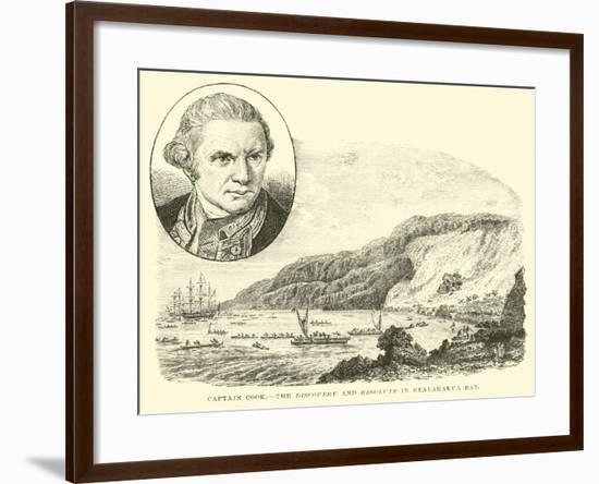Captain Cook, the Discovery and Resolute in Kealakakua Bay--Framed Giclee Print