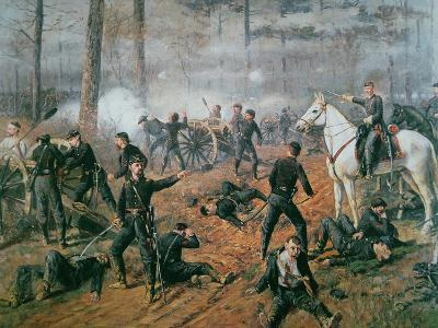 Captain Hickenlooper's Battery in the Hornet's Nest at the Battle of Shiloh, April 1862-T. C. Lindsay-Giclee Print