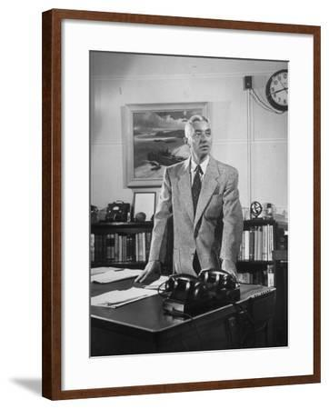Captain Hyman George Rickover Standing at His Desk--Framed Premium Photographic Print