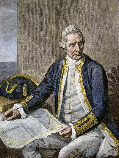 Captain James Cook Regarding a Map--Giclee Print