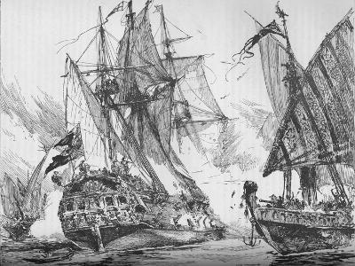 Captain Keigwin in the Revenge, Beating Off Sevagees Fleet, 1884--Giclee Print