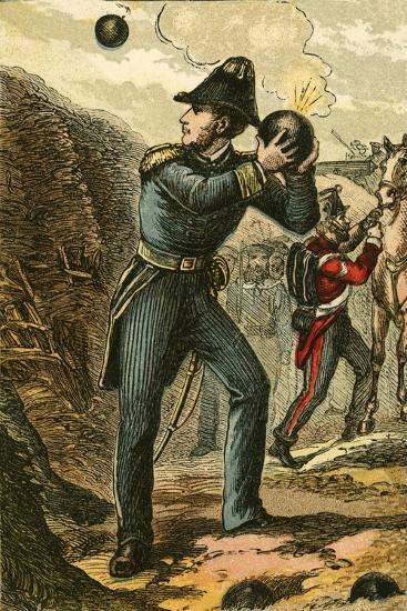 Captain Peel with the Burning Fuse-English School-Giclee Print