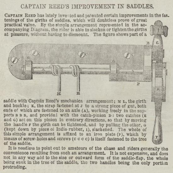 Captain Reed's Improvement in Saddles--Giclee Print