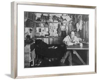 Captain Scott in His Den at Winter Quarters, During the Terra Nova Expedition-Herbert Ponting-Framed Photographic Print