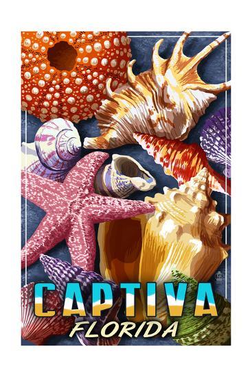 Captiva, Florida - Shell Montage-Lantern Press-Art Print
