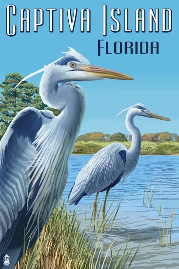 Captiva Island, Florida - Blue Herons in grass-Lantern Press-Art Print