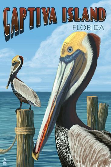 Captiva Island, Florida - Brown Pelican-Lantern Press-Art Print