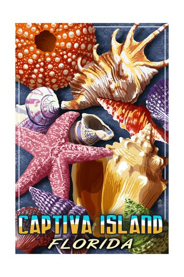 Captiva Island, Florida - Shell Montage-Lantern Press-Art Print