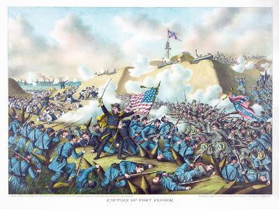 Capture of Fort Fisher, Pub. Kurz and Allison, 1890--Giclee Print