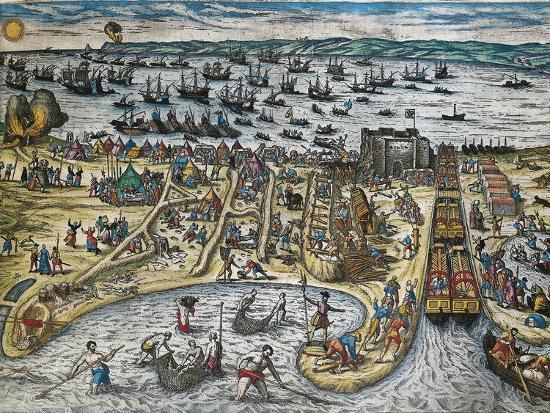 Capture of La Goulette and Tunis by Charles V, 1535-Franz Hogenberg-Giclee Print