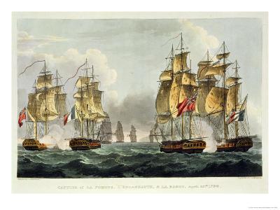 Capture of La Pomone, L'Engageante and La Babet, April 23rd 1794-Thomas Whitcombe-Giclee Print