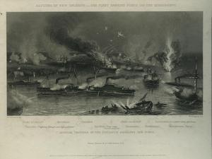 Capture of New Orleans: the Fleet Passing Forts on the Mississippi, C.1862