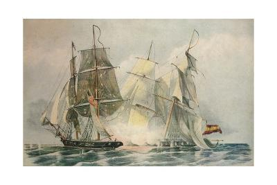 Capture of the Spanish slave vessel Dolores by HM brig Ferret, 4 April 1816, 1816-William John Huggins-Giclee Print