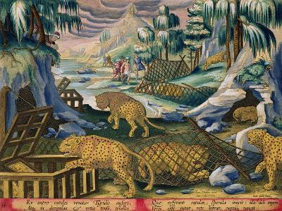 Capturing Leopards, Plate 15 from Venationes Ferarum, Avium, Piscium-Jan van der Straet-Giclee Print