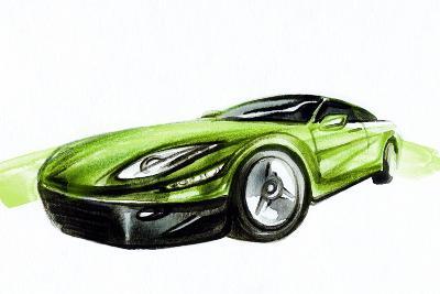 Car. Art Sketch . Sport Car. Pencil Drawing-Anna Ismagilova-Photographic Print