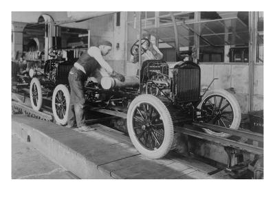 Car Assembly in Detroit Factory--Art Print