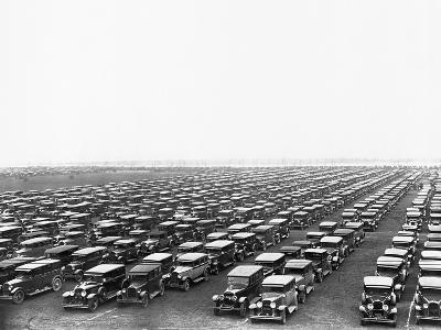 Car-Filled Soldier Field Parking Lot--Photographic Print