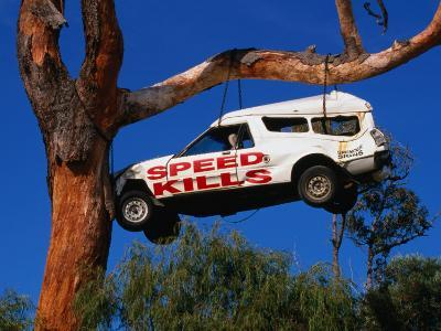 Car Hanging on Tree, Safety Message on Old Coast Road in South-West, Australia-Wayne Walton-Photographic Print