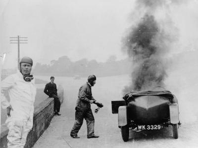Car on Fire, Brooklands, Surrey, 1928--Photographic Print