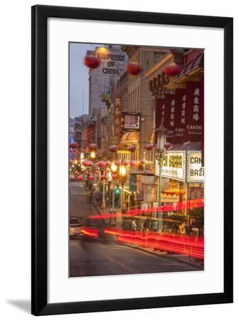 Car Streaks in Chinatown at Night-Richard Nowitz-Framed Photographic Print