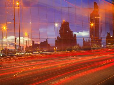 Car Tail Lights Streaming Past Mirrored Building, Liverpool, Merseyside, England, United Kingdom-Craig Easton-Photographic Print