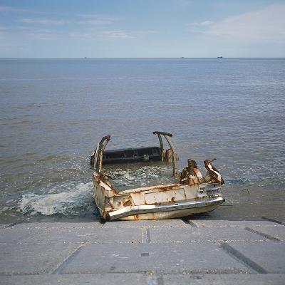 Car Wreck in Sea-Robert Brook-Photographic Print