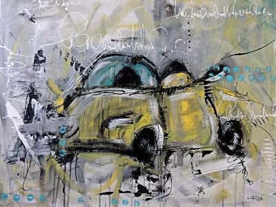 Car Yellow-Annie Rodrigue-Art Print