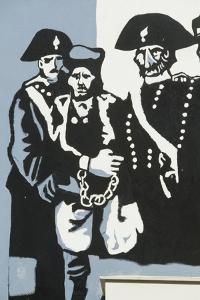 Carabinieri (Police) with Prisoner, Mural on Orgosolo Middle School, Sardinia, Italy