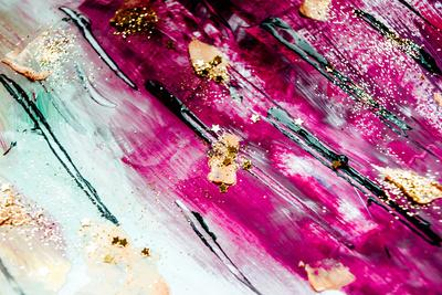 Abstract Art with Gold Colors and Sparkles. Artistic Design. Painter Uses Vibrant Paints to Create