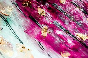 Abstract Art with Gold Colors and Sparkles. Artistic Design. Painter Uses Vibrant Paints to Create by CARACOLLA