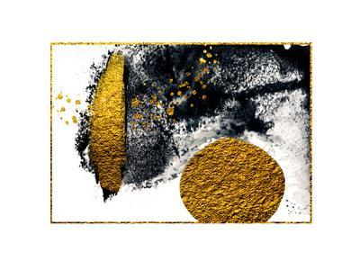 Art&Gold. Painting. Natural Luxury. Black Paint Stroke Texture on White Paper. Abstract Hand Painte