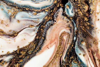 Golden Swirl, Artistic Design. Painter Uses Vibrant Paints to Create These Magic Art, with Addition