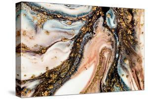 Golden Swirl, Artistic Design. Painter Uses Vibrant Paints to Create These Magic Art, with Addition by CARACOLLA