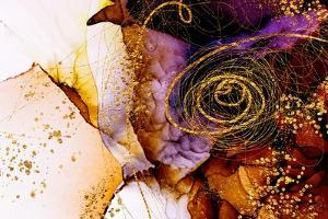 Unique Creativity. Art&Gold. Inspired by the Sky. Abstract Painting with Golden Swirls. Popular Tre by CARACOLLA