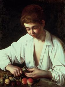 A Young Boy Peeling an Apple by Caravaggio