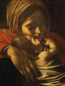 Faces of Madonna and Child, from Adoration of the Shepherds (Detail) by Caravaggio