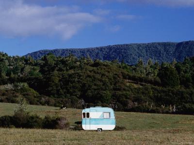 Caravan and a Cow in Field, Near Waima-Holger Leue-Photographic Print