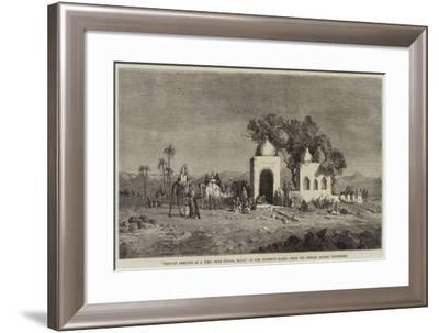 Caravan Arriving at a Well Near Thebes, Egypt--Framed Giclee Print