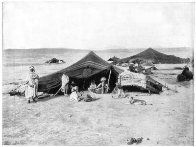 Caravan Camp, Sahara Desert, Late 19th Century-John L Stoddard-Giclee Print