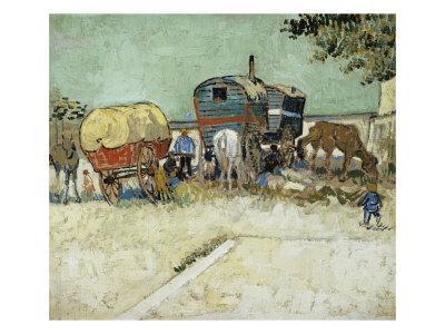 Caravans Encampment of Gypsies-Vincent van Gogh-Premium Giclee Print
