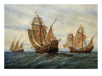 Caravels of Christopher Columbus, 1451-1506 Italian (Genoese) Explorer-Rafael Monleon Y Torres-Giclee Print