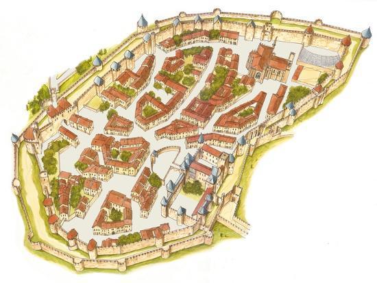 Carcassonne, France, Aerial View-Fernando Aznar Cenamor-Giclee Print