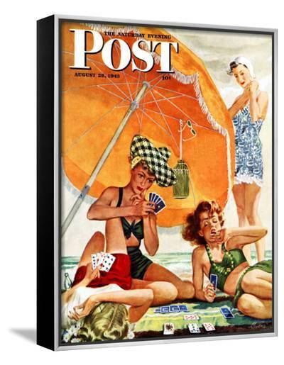 """""""Card Game at the Beach,"""" Saturday Evening Post Cover, August 28, 1943-Alex Ross-Framed Canvas Print"""