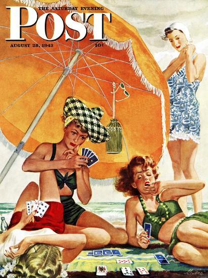"""Card Game at the Beach,"" Saturday Evening Post Cover, August 28, 1943-Alex Ross-Premium Giclee Print"