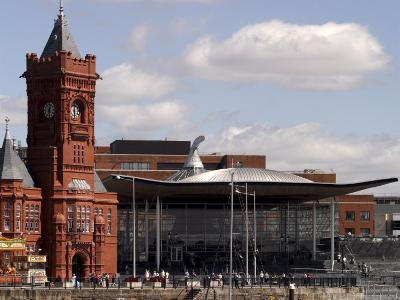 Cardiff Bay Skyline, with Pierhead Building and Welsh Assembly, Cardiff, Wales-G Richardson-Photographic Print