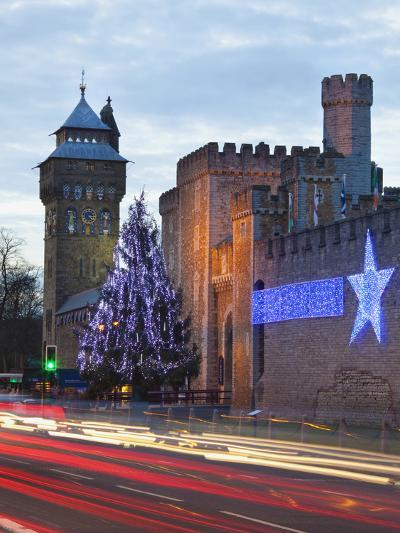 Cardiff Castle with Christmas Lights and Traffic Light Trails, Cardiff, South Wales, Wales, United -Billy Stock-Photographic Print