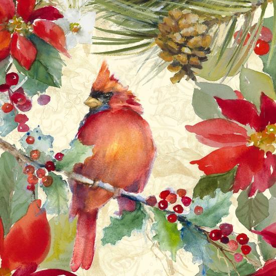 Cardinal and Pinecones II-Lanie Loreth-Art Print