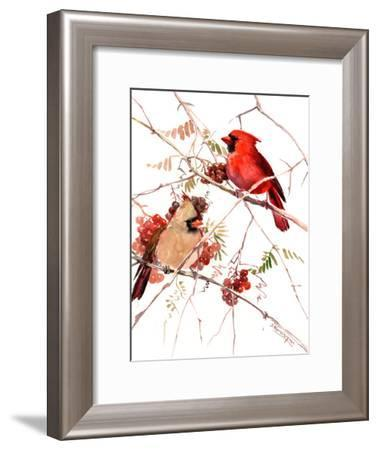 Cardinal Birds-Suren Nersisyan-Framed Art Print