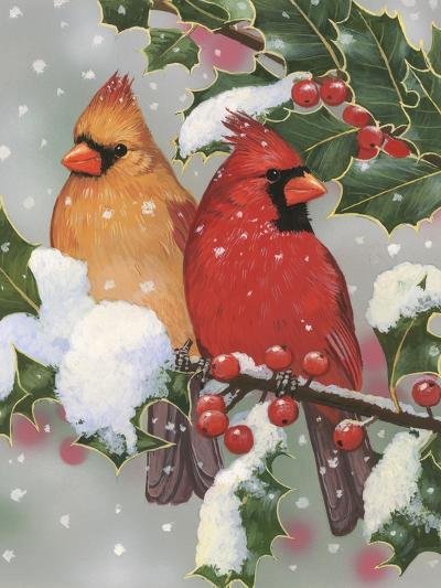 Cardinal Couple with Holly-William Vanderdasson-Giclee Print